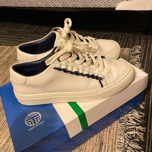 Tory Burch 7 white ruffle sneakers leather